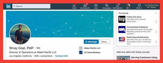 """图注:在我和""""帕特里克""""通电话后,施雷・戈尔把Abbot Pacific从其LinkedIn的页面上删除了。"""