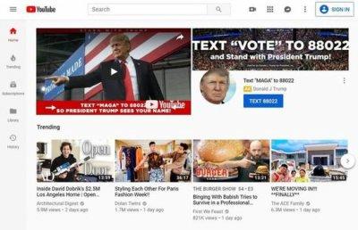 竞选团队购买选举日YouTube价值百万美元首页广告位