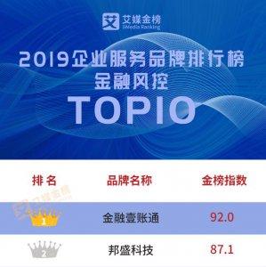 艾媒金榜2019企服金融风控榜单公布 邦盛荣膺TOP2