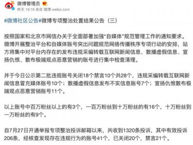 微博公示第二批自媒体专项整治结果:违规账号关闭18个