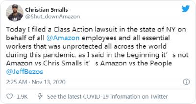 亚马逊遭到仓库员工起诉 亚马逊为什么被起诉?