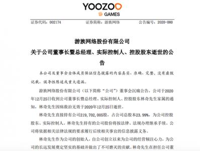 游族网络董事长林奇救治无效逝世 游族网络股票跌停