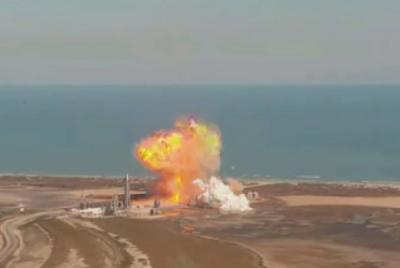 美国公司SpaceX星际飞船原型机SN9在试飞时落地爆炸