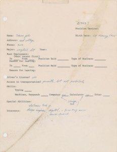 乔布斯早期求职表被拍卖:成交价222400美元