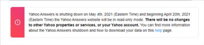 雅虎问答宣布2021年5月4日永久关闭 创建于2005年